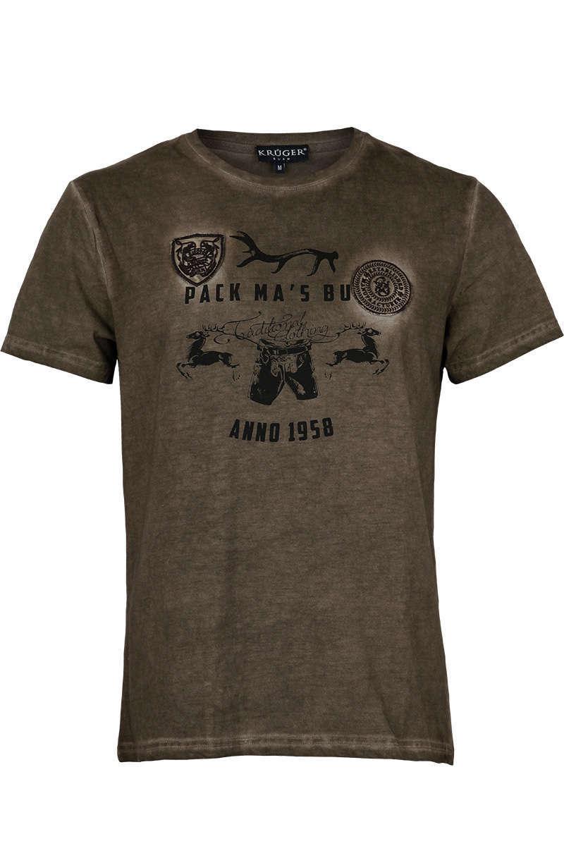 huge selection of ec184 c9178 Herren Trachten T-Shirt mit Lederhose braun