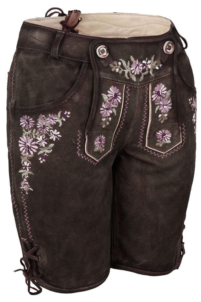 b903a154ef46 Damen Lederhose kurz mit Stickerei braun - Trachten Lederhosen ...