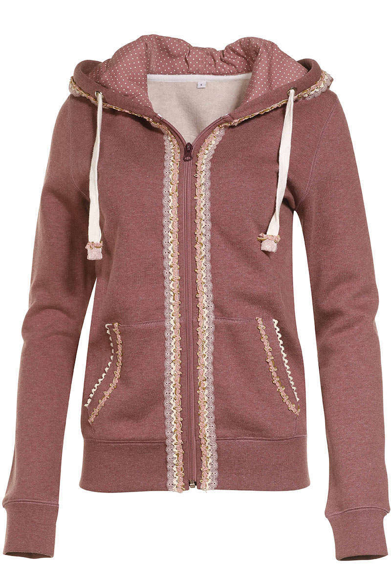 Damen Trachten Sweat-Jacke rose