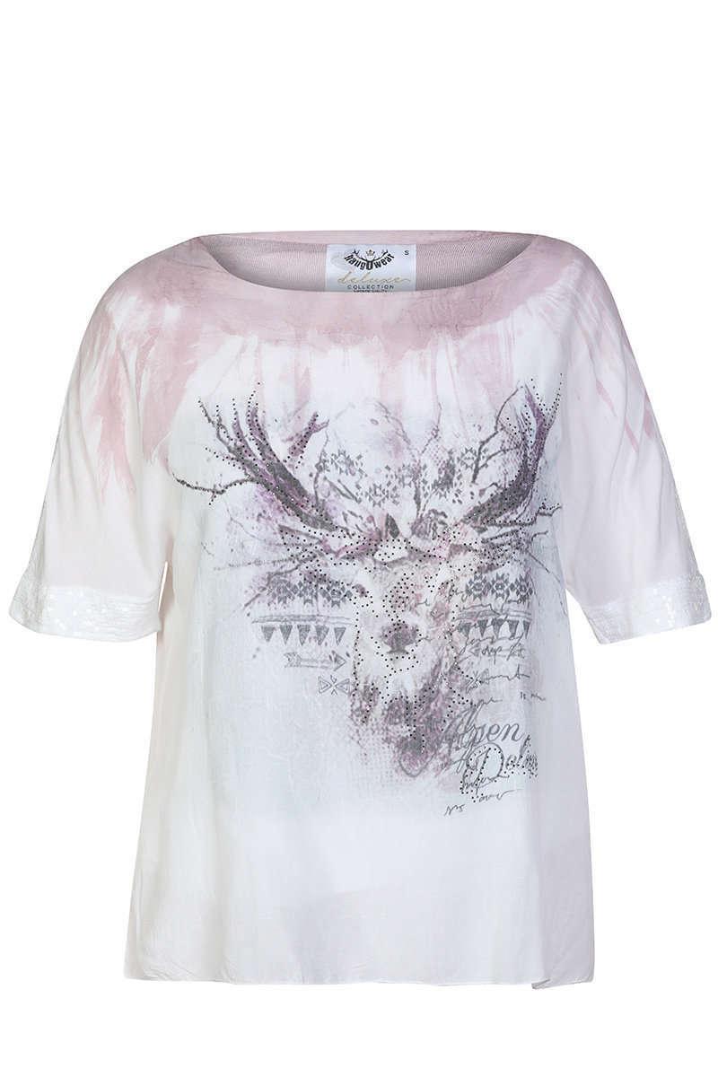 Trachten Blusenshirt weiss rosa - Damen - Mia San Tracht 09242a7484
