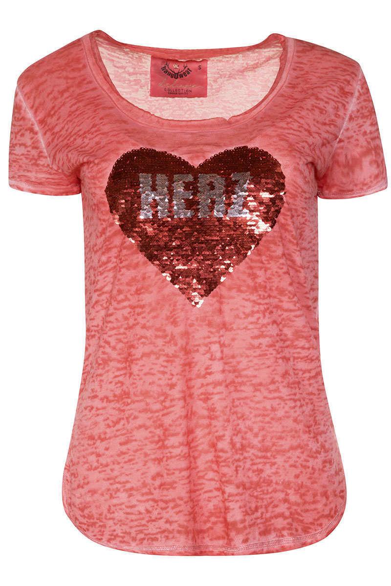 t shirt mit wende pailletten rot trachten shirts. Black Bedroom Furniture Sets. Home Design Ideas