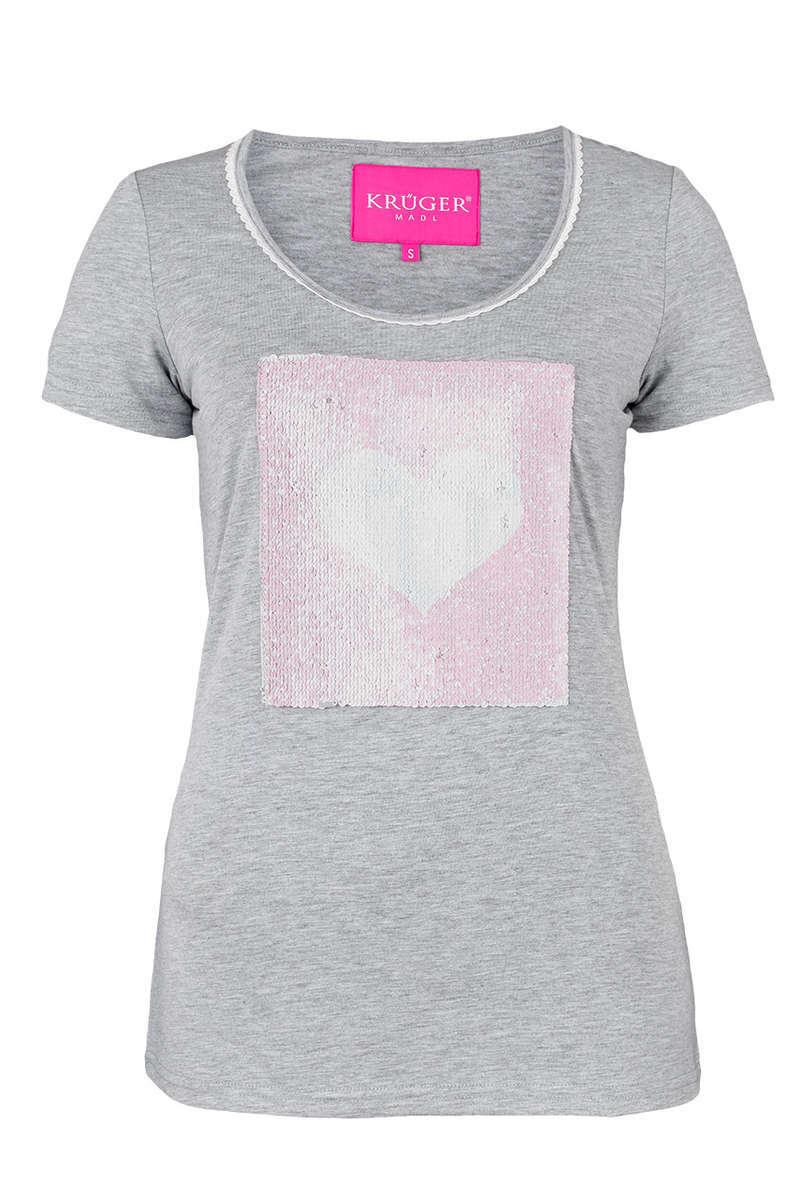 Wende Pailletten T-Shirt hellgrau - Damen - Mia San Tracht 065e4c9f7b