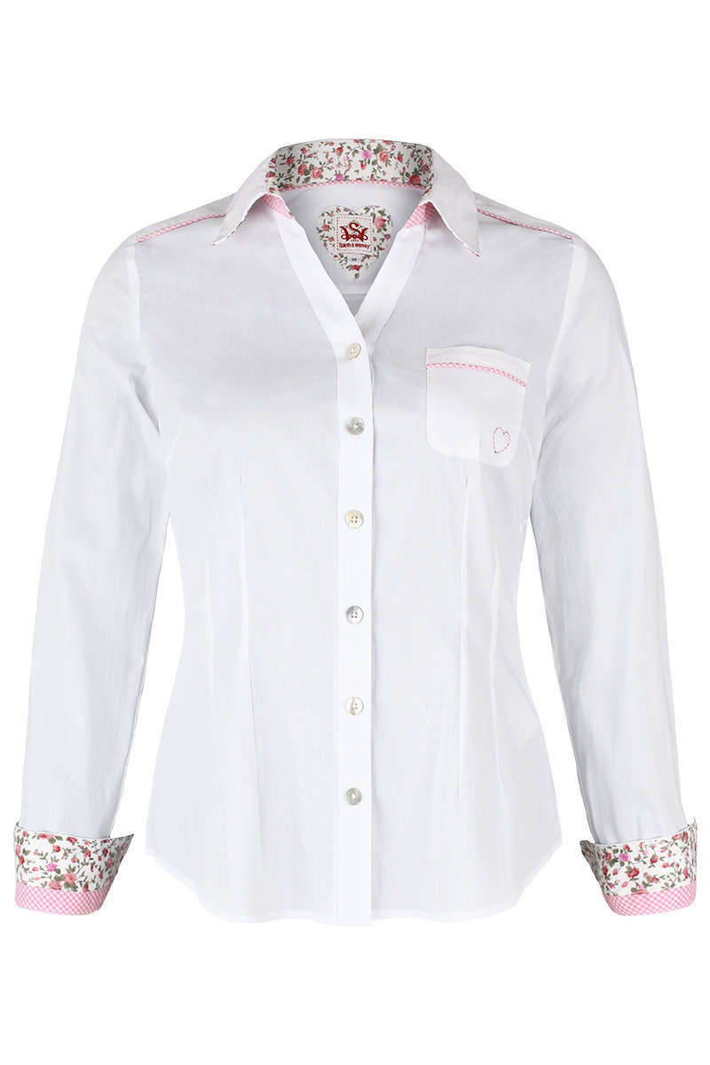 Damen Trachtenbluse Krempelarm weiß rosa - Damen - Mia San Tracht f4abf082c8