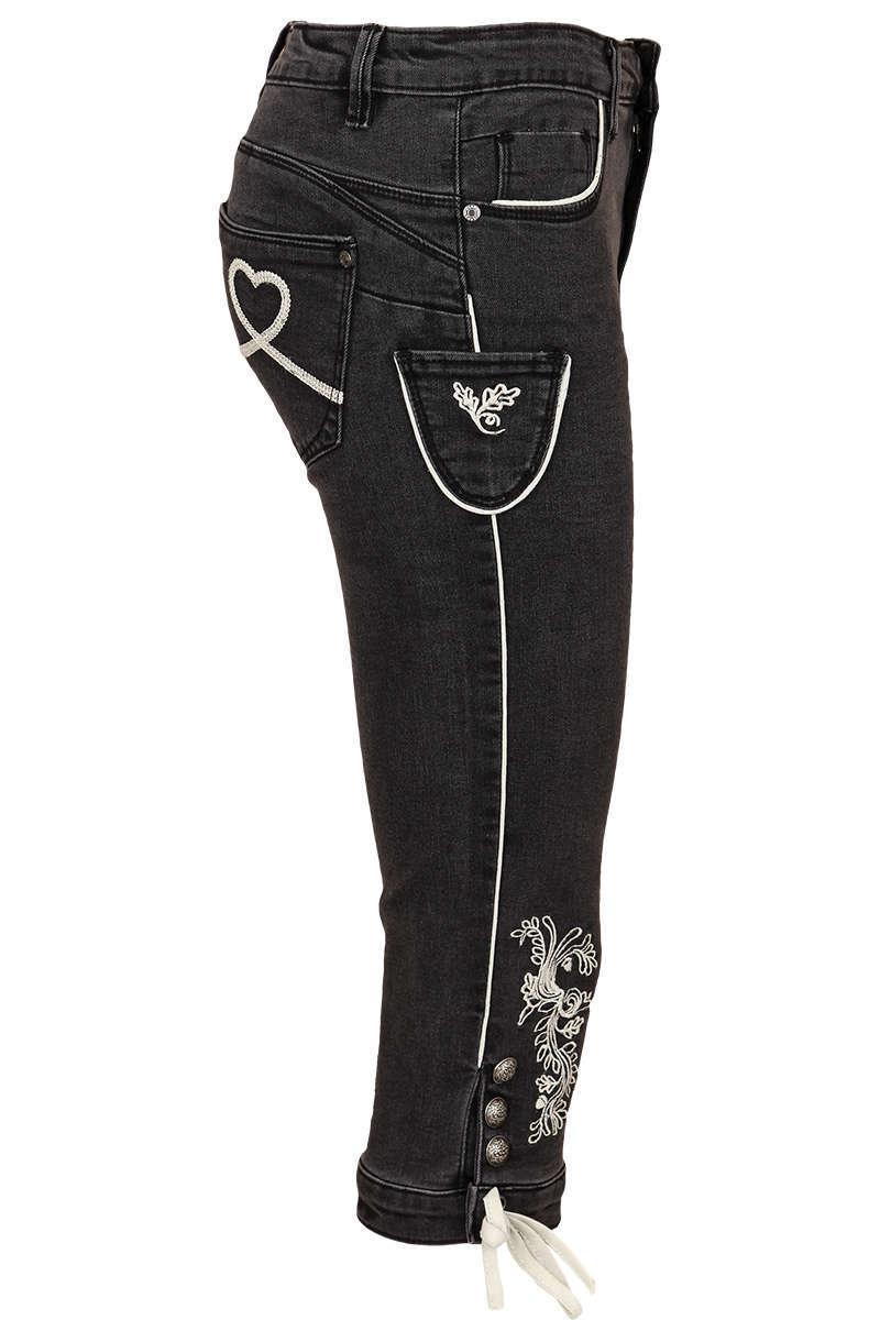 Damen Trachten Stretch Dreiviertelhose schwarz