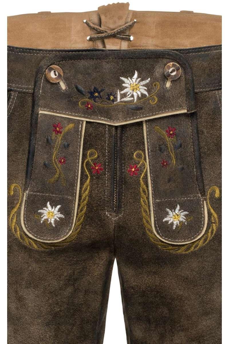 13cc77891a96 Damen Lederhose mit Alpenblumen Stickerei kurz - Trachten Lederhosen ...