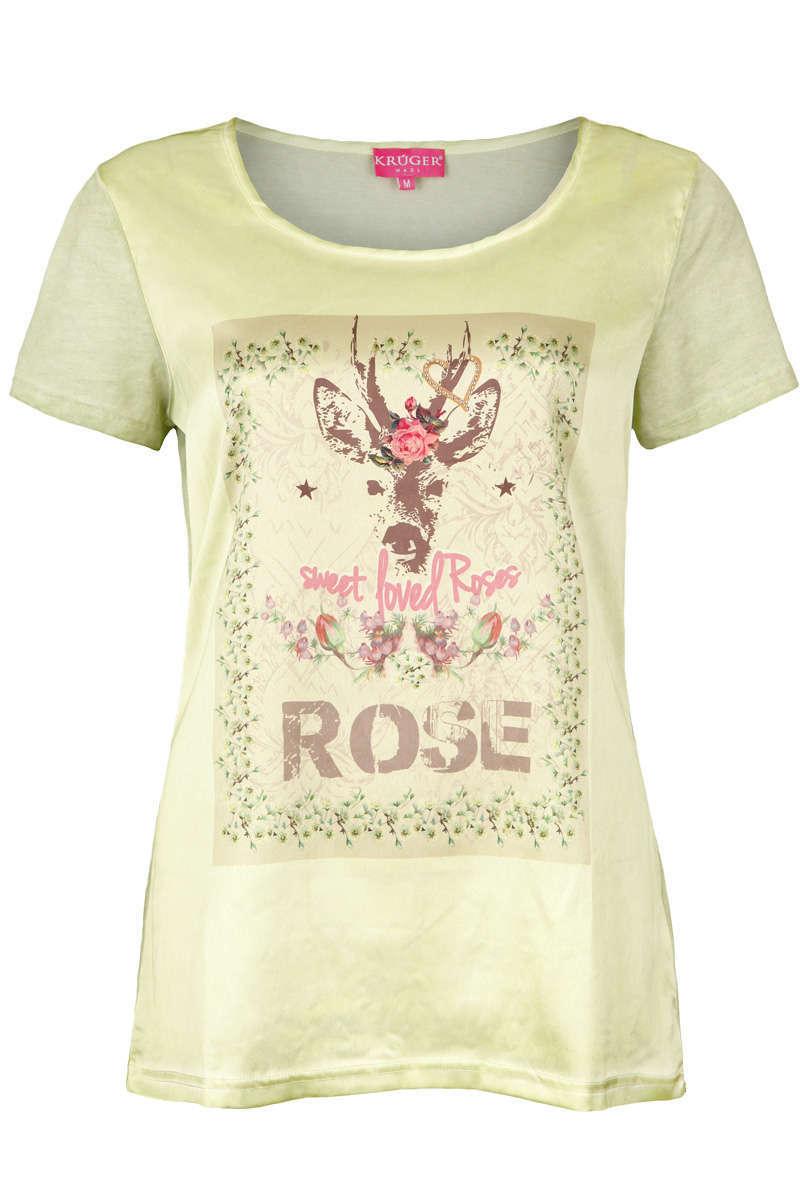 629a2f9ff194a6 Damen Trachten T-Shirt mit Reh und Rosen oliv - Damen - Mia San Tracht