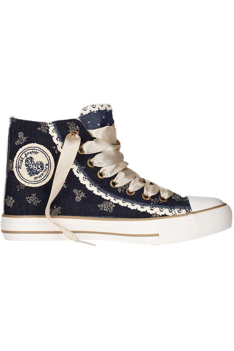 2f1db60cd663ff Krüger Madl Damen Sneaker im Chucks-Look blau kupfer