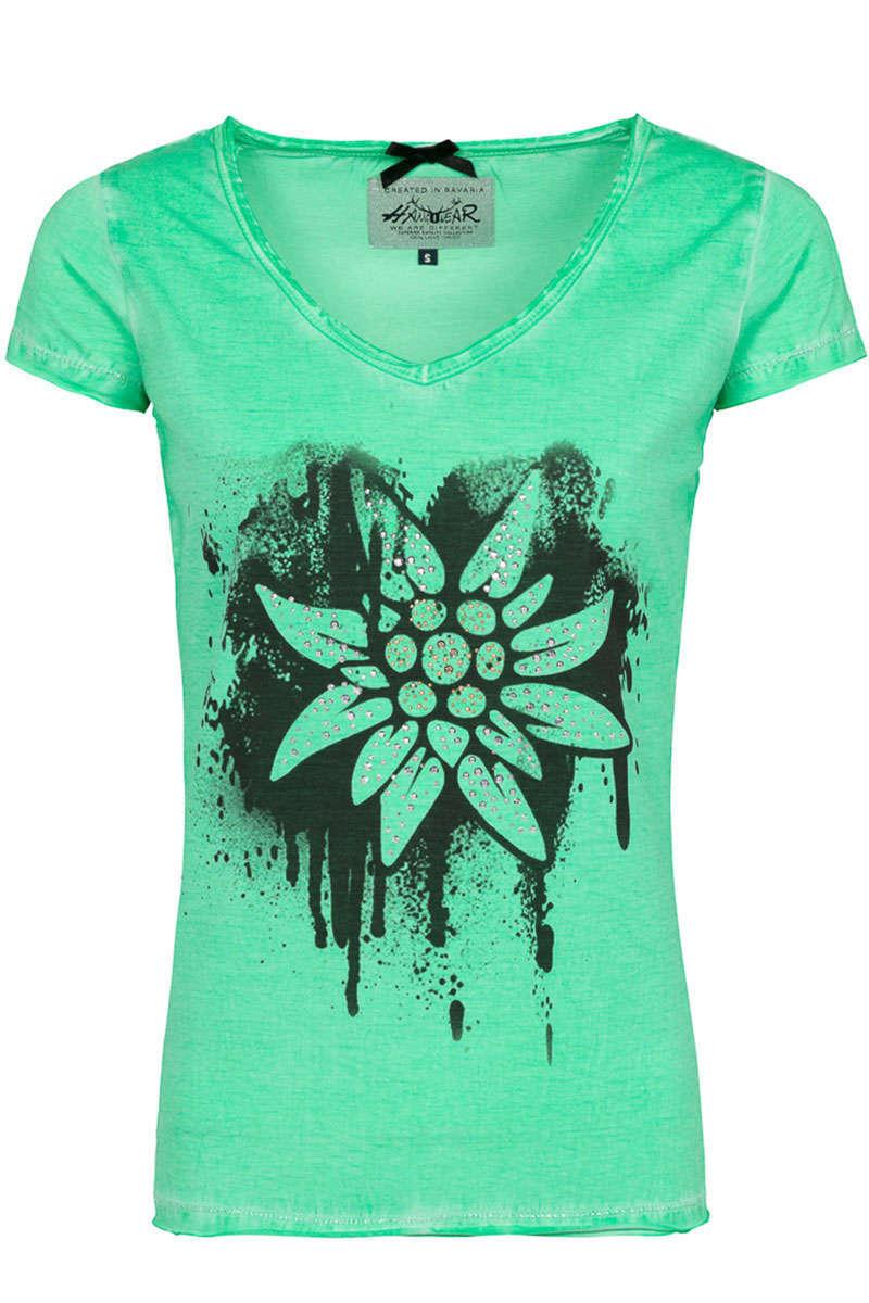 4fc97b4bc3896 Damen Trachten T-Shirt mit Edelweiss grün - Damen - Mia San Tracht