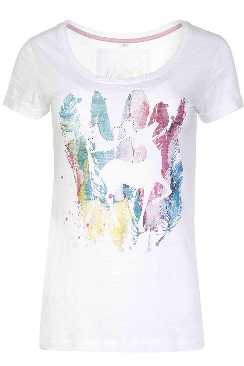 d0eee35d0eba5a Damen Trachten T-Shirt Federhirsch Weiß - Damen - Mia San Tracht