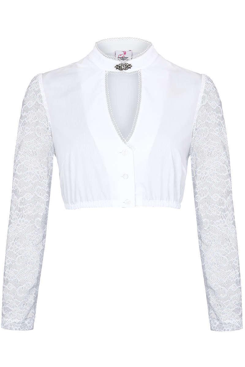 100% Spitzenqualität neu kommen an am besten einkaufen Dirndl Bluse mit Brosche lange Spitzenärmel weiß
