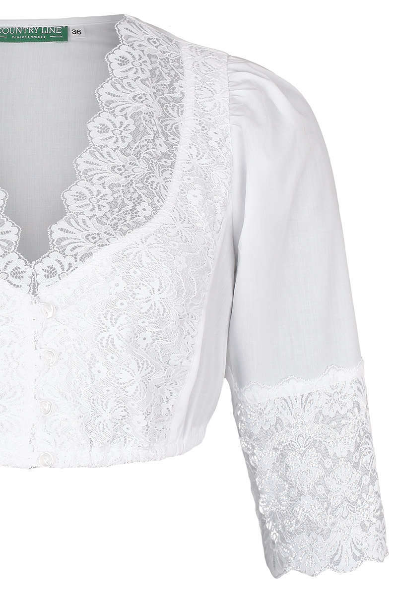 fa6308eb57010e weiße Spitzen Dirndl-Bluse mit 3/4 Arm - Dirndlblusen Damen - Mia ...