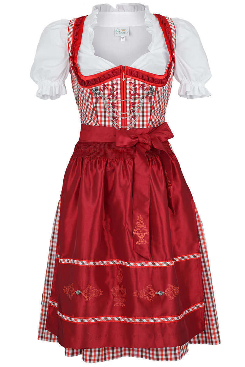 dirndl kurz rot wei schwarz kariert damen mia san tracht. Black Bedroom Furniture Sets. Home Design Ideas