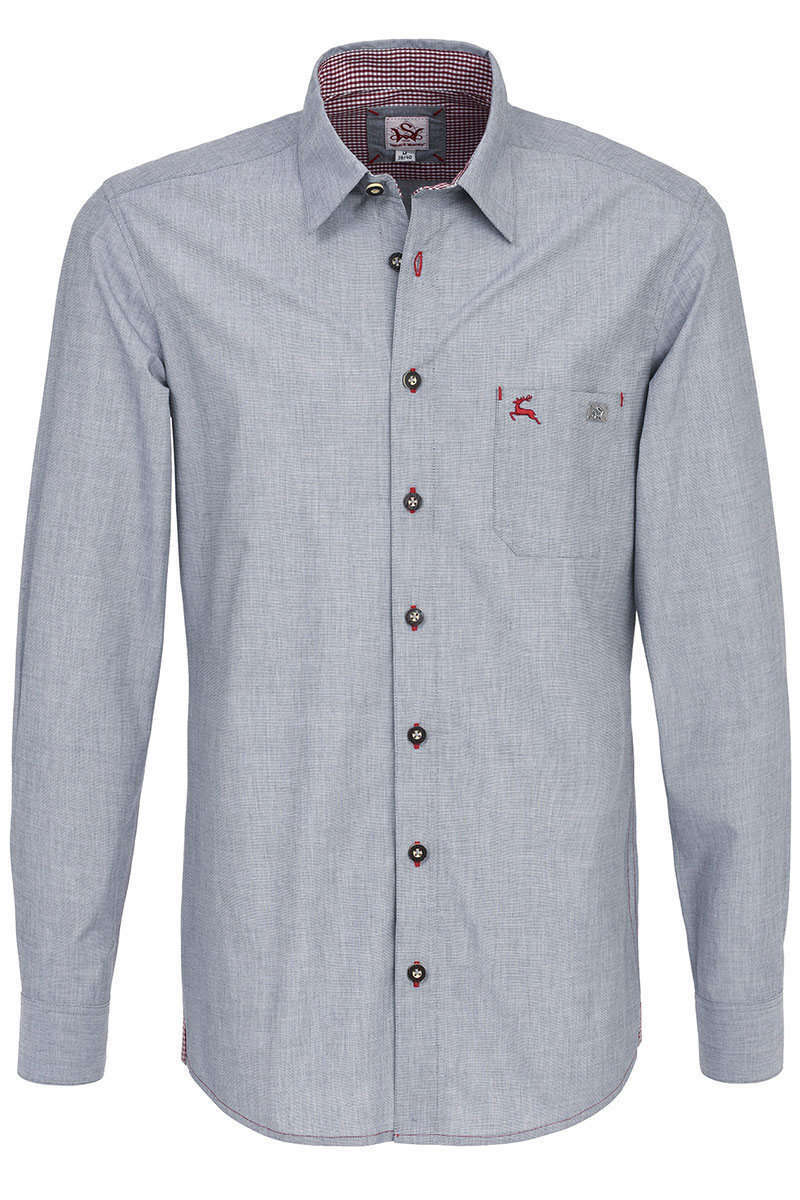 check out 15fc0 d11b7 Trachten Hemd Slim Fit Kentkragen grau