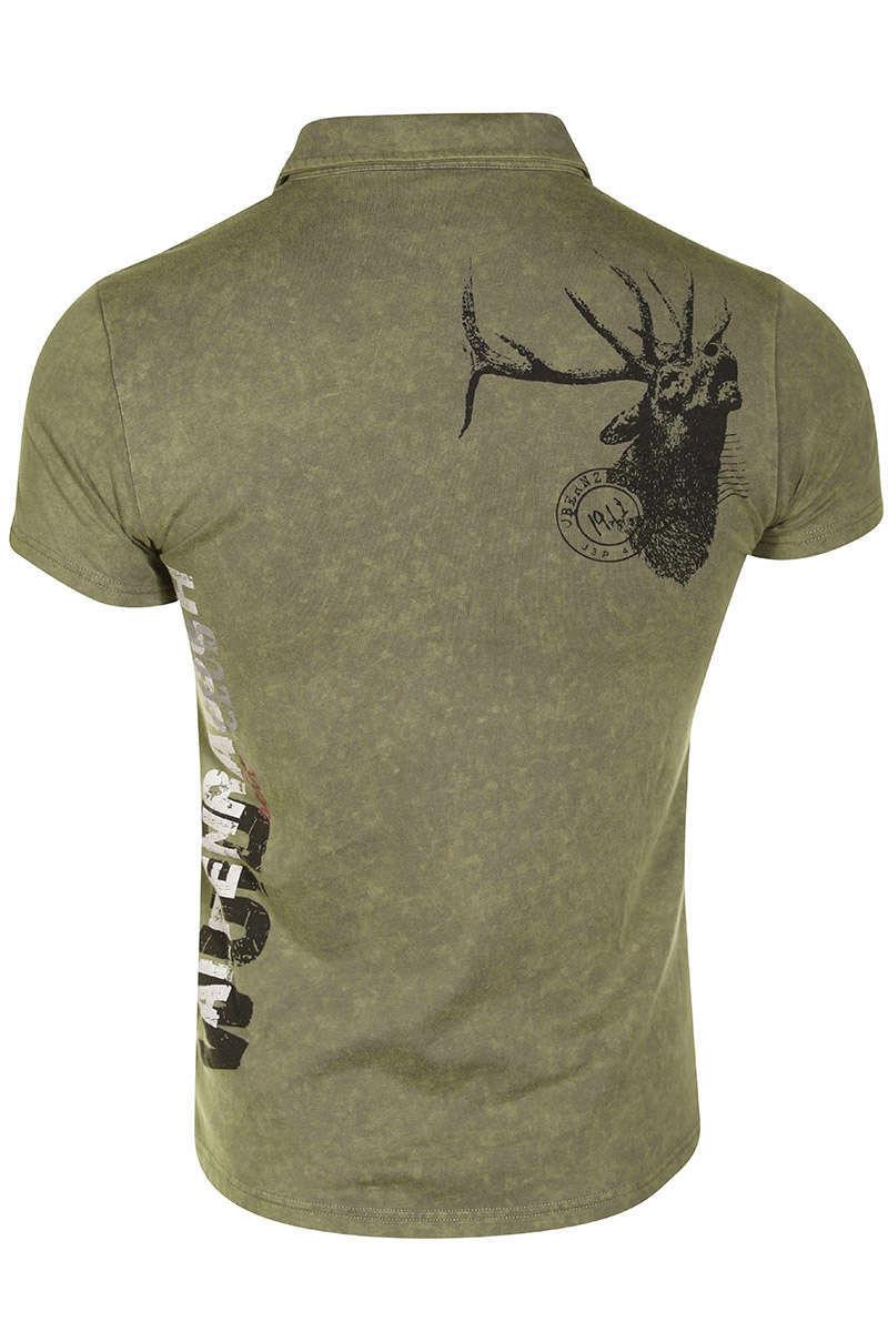 wholesale dealer b1777 10c7d Herren Trachten Polo T-Shirt kurzarm khaki