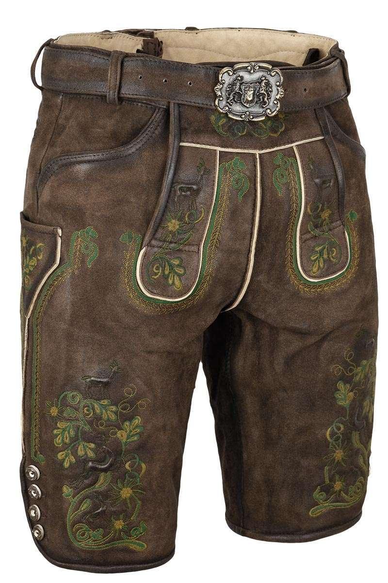 Geschäft besserer Preis zarte Farben Herren Lederhose mit Gürtel kurz Braun mit grüner Stickerei
