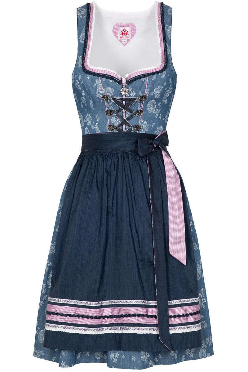 Mini Dirndl mit Blumenprint hellblau - Dirndl Damen - Mia San Tracht e0b4e2ffa1