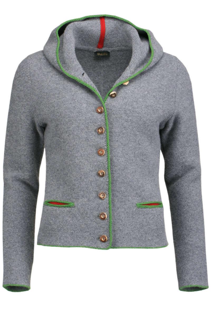 Ganz und zu Extrem Trachten Strickjacke mit Kapuze grau-grün - Damen - Mia San Tracht @PA_83