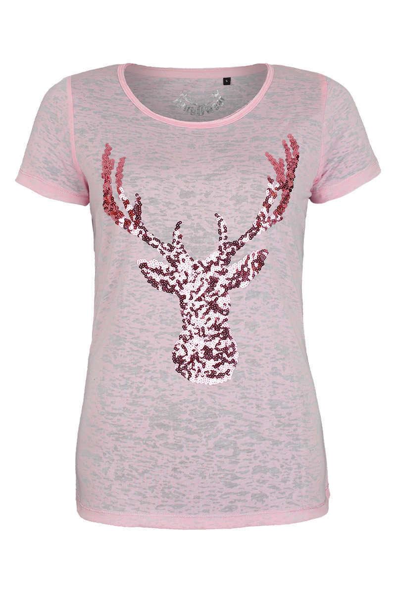 trachtenshirt hirsch pailletten rosa t shirts damen mia san tracht. Black Bedroom Furniture Sets. Home Design Ideas