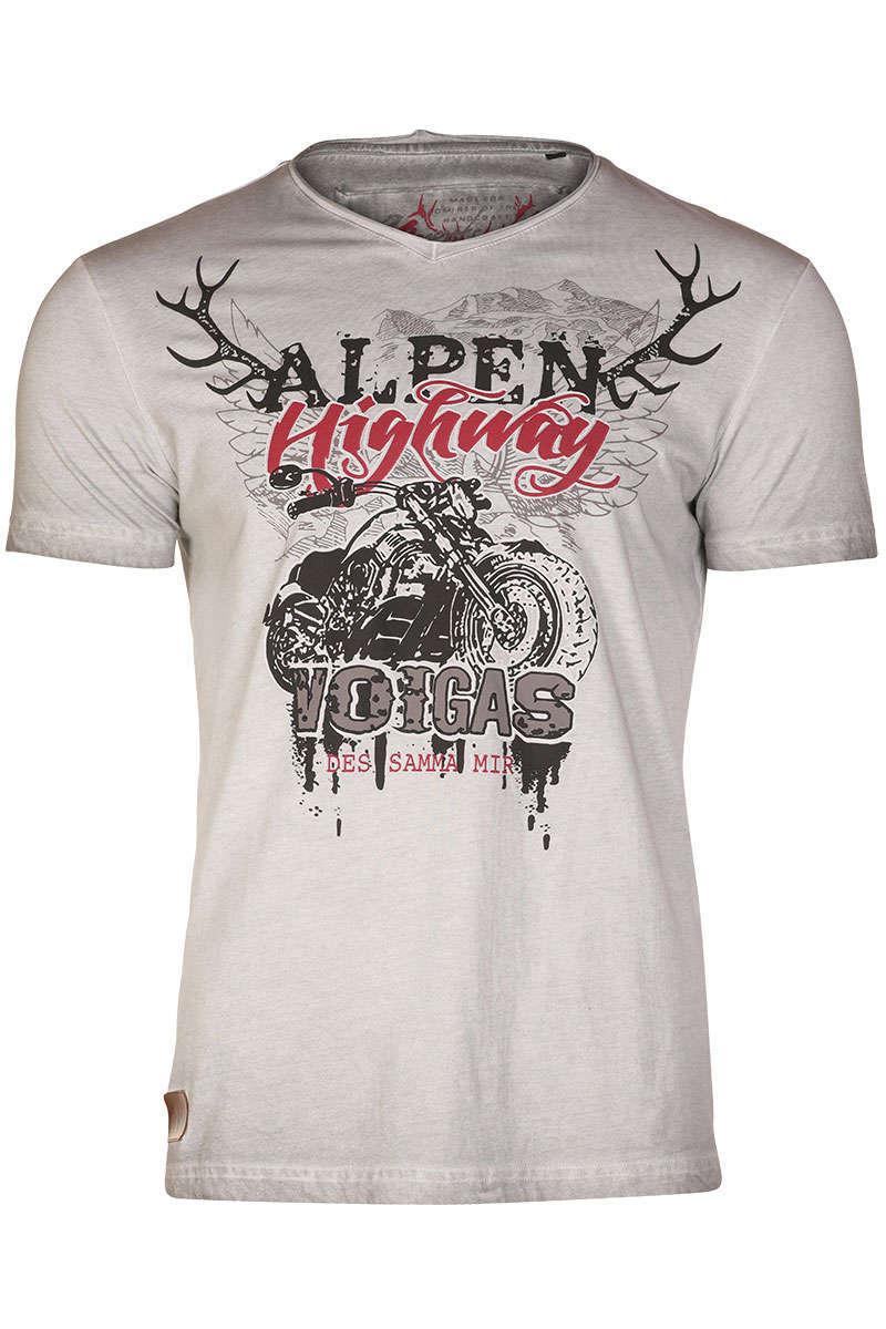 2fd744310c01d0 Trachten T-Shirt V-Ausschnitt grau Alpen Highway - Typisch ...