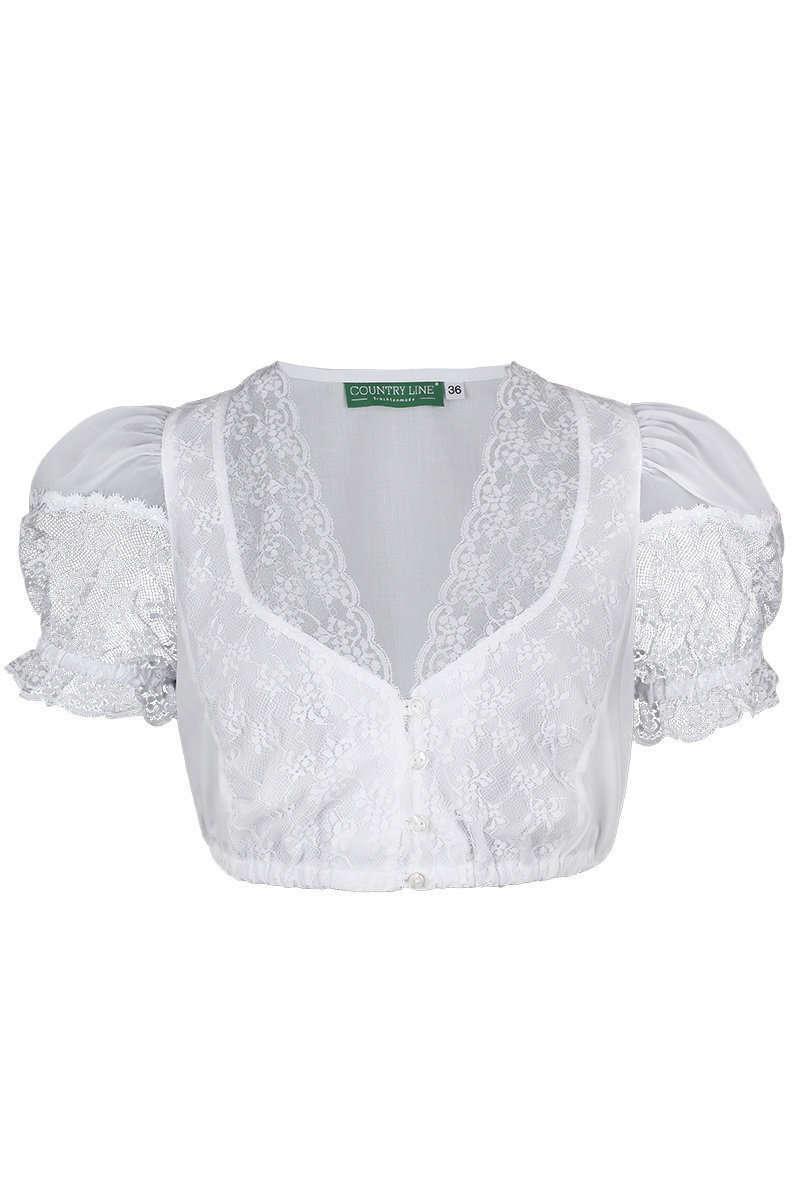 b68fb7cee15044 Dirndlbluse V-Ausschnitt mit Spitze weiß - Damen - Mia San Tracht