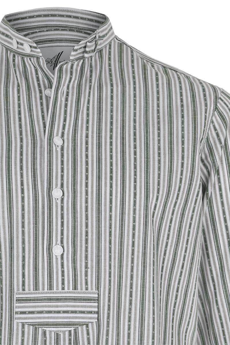 Herren Pfoad Trachtenhemd gestreift grün