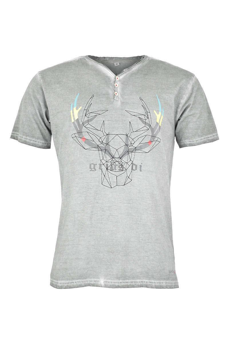 purchase cheap 2a417 8ba64 Trachten T-Shirt V-Ausschnitt mit Knöpfen 'grias di' grau
