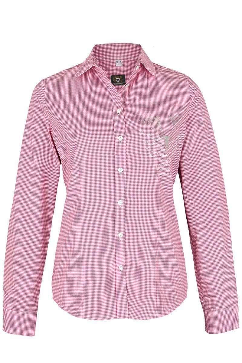 Trachten Bluse langarm Strass pink weiß karo - Damen - Mia San Tracht 73f299670d