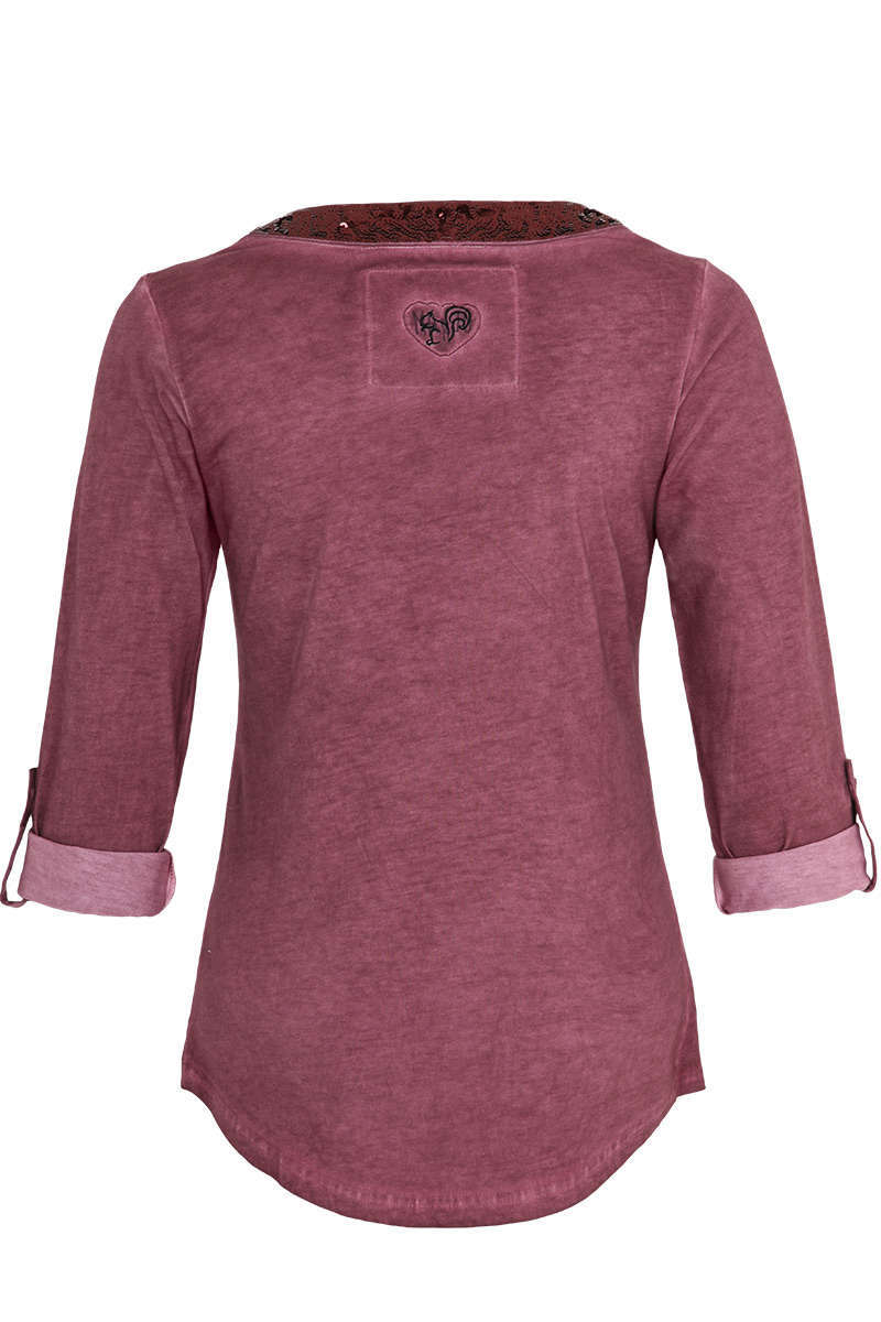 Damen Trachten-Shirt mit 3/4-Arm  bordeaux Bild 2