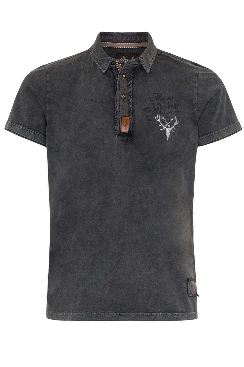 Herren Polo-Shirt  In da Wuidnis dahoam anthrazit