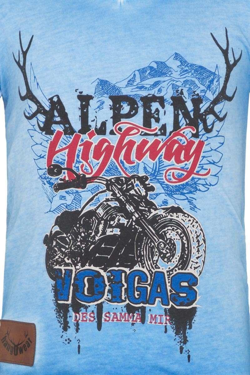 9cd0834acfc9c2 Trachten T-Shirt V-Ausschnitt Alpen Highway blau - Typisch ...