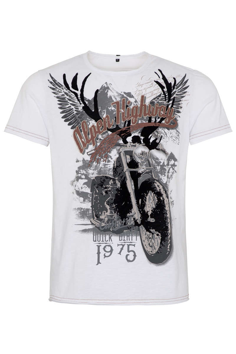 Herren T-Shirt Alpen Highway 1975 weiss