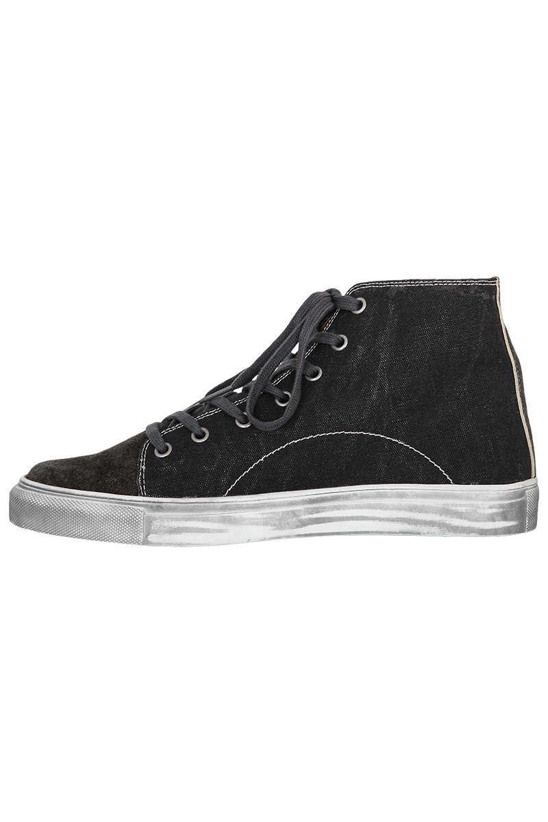 cheaper c3d34 6829d Trachten Leder-Sneaker mit Leinenoptik hoch schwarz sesam