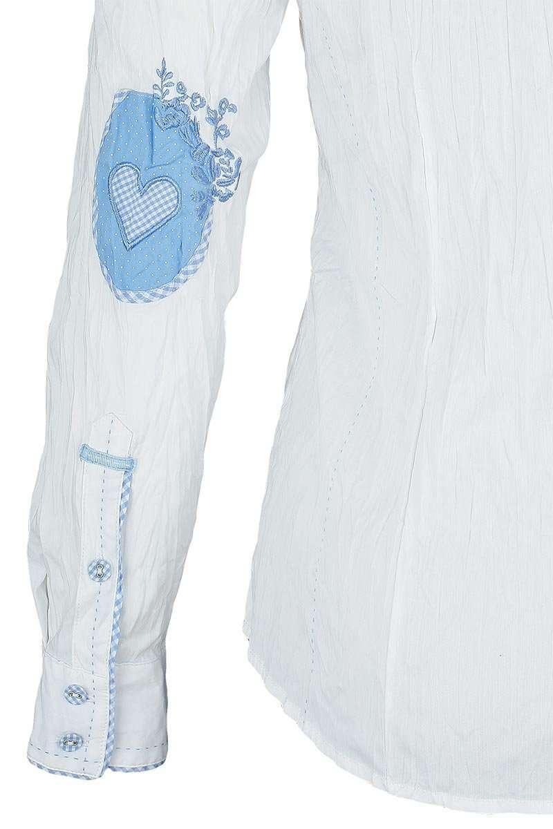 75eaaffef414be Bluse Crash-Optik weiß-hellblau Stickerei - Damen - Mia San Tracht