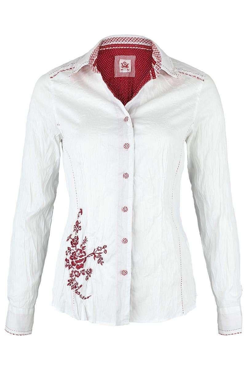 4146d779e84d07 Bluse Crash-Optik weiß-rot Stickerei - Damen - Mia San Tracht