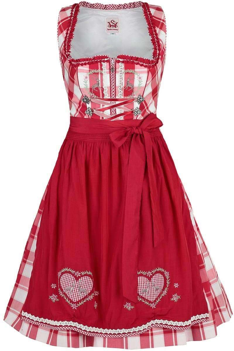 dirndl kurz kariert mit hirsch rot dirndl mini dirndl. Black Bedroom Furniture Sets. Home Design Ideas