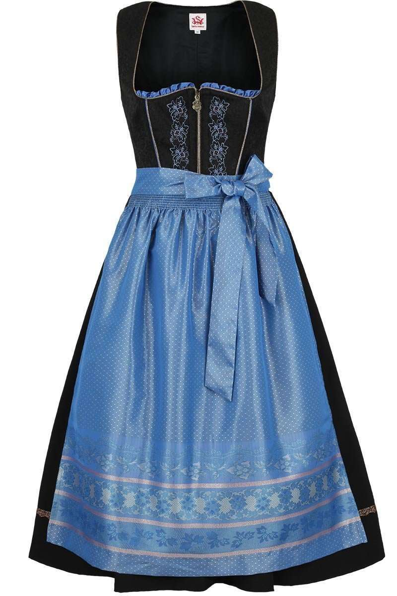 dirndl mittel schwarz blau dirndl midi dirndl damen. Black Bedroom Furniture Sets. Home Design Ideas