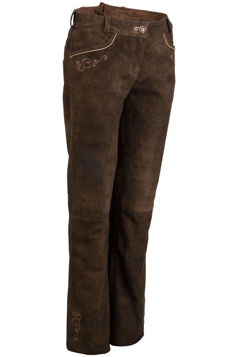 e9c620647b7f Lederhose lang bestickt braun - Trachten Lederhosen Trachtenhosen ...