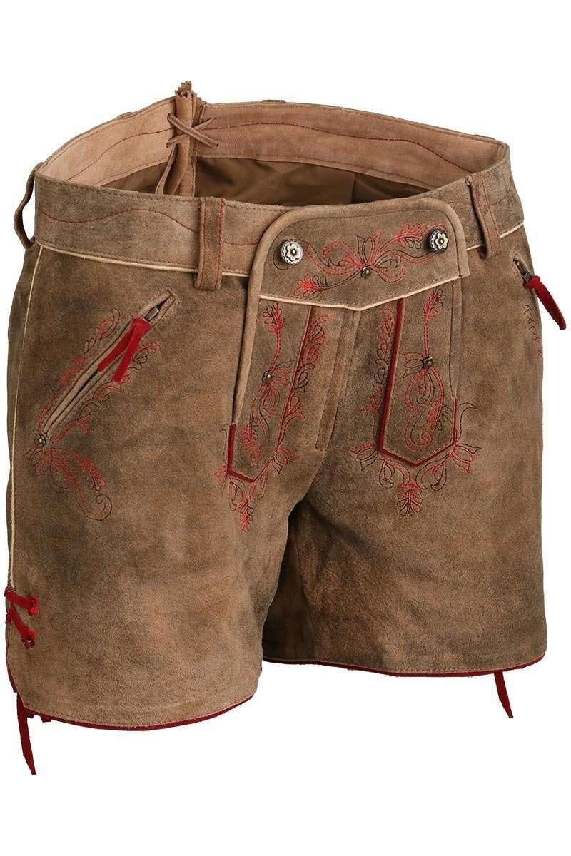 lederhose shorts hellbraun mit roter stickerei hosen kurz hosen damen mia san tracht. Black Bedroom Furniture Sets. Home Design Ideas