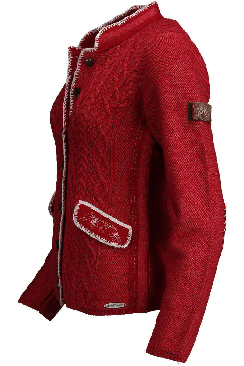 Strickjacke mit Zopfmuster und Stehkragen rot