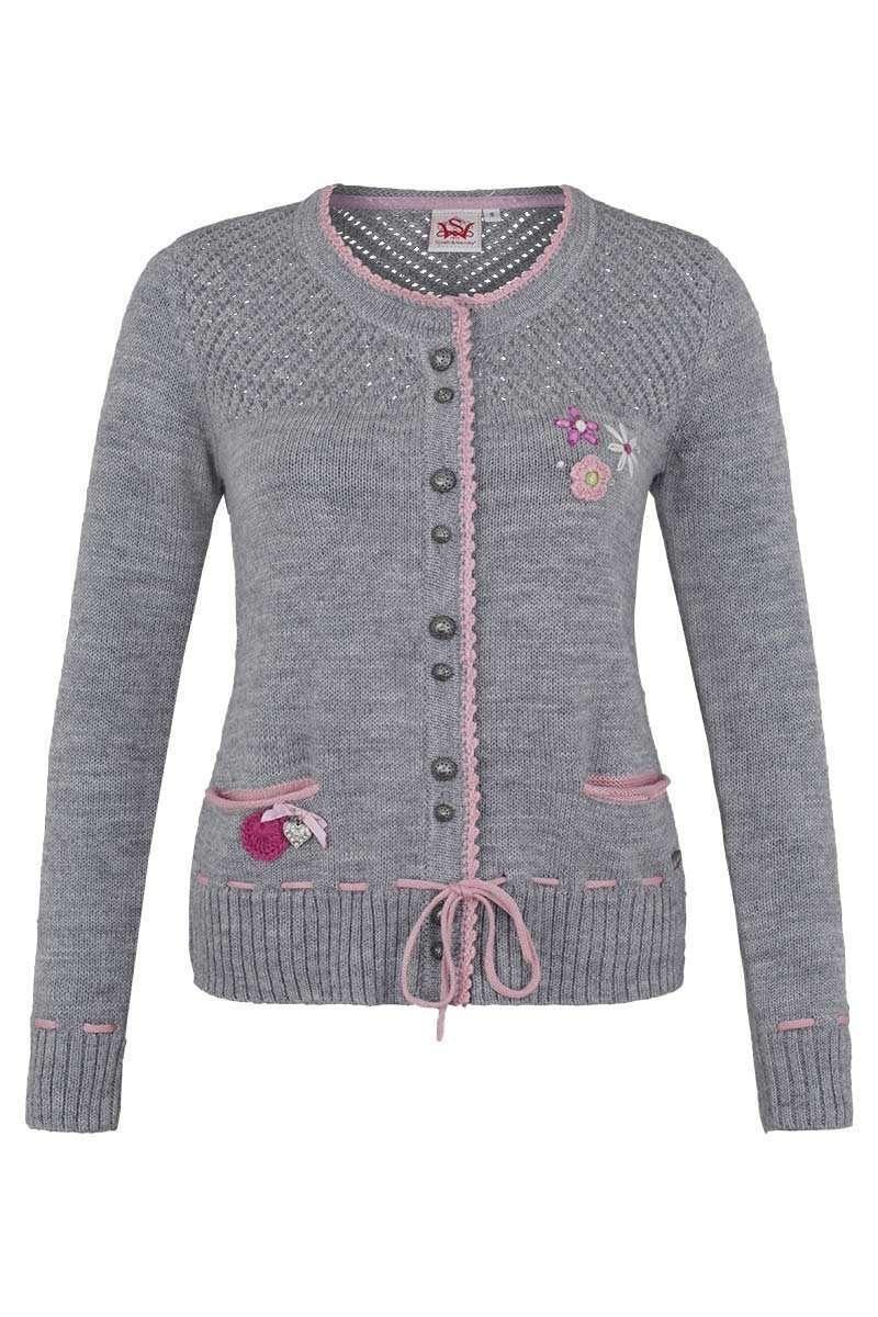 Trachten Strickjacke mit Blumenapplikation grau-rosa - Damen - Mia ... 2fb1b0834a
