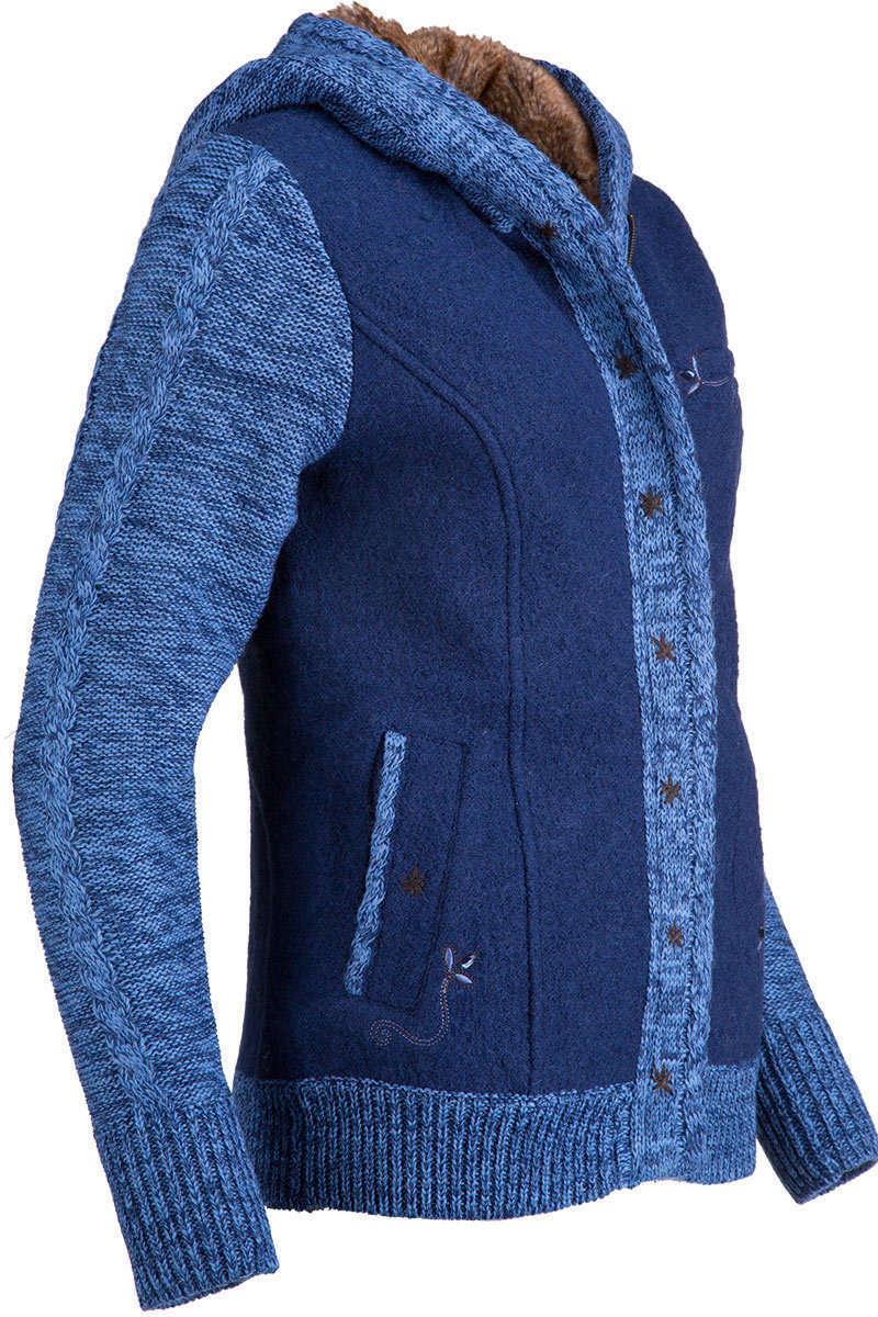 walk strickjacke mit kapuze blau jacken trendig jacken damen mia. Black Bedroom Furniture Sets. Home Design Ideas