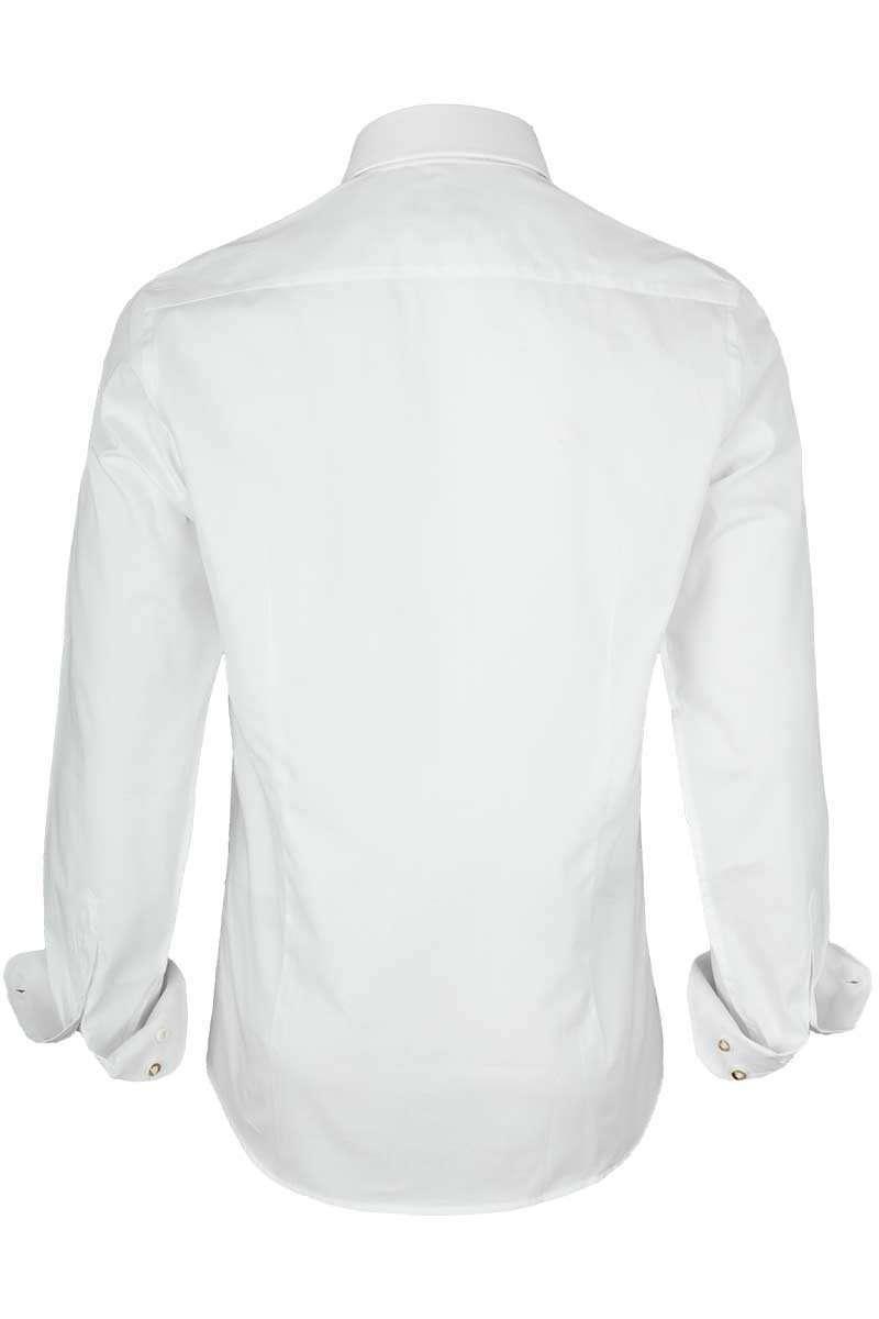 weiß-Jeans, Almsach Herren Hemd Slim Fit weiß mit Karierten Details blau Trachtenhemden Bekleidung