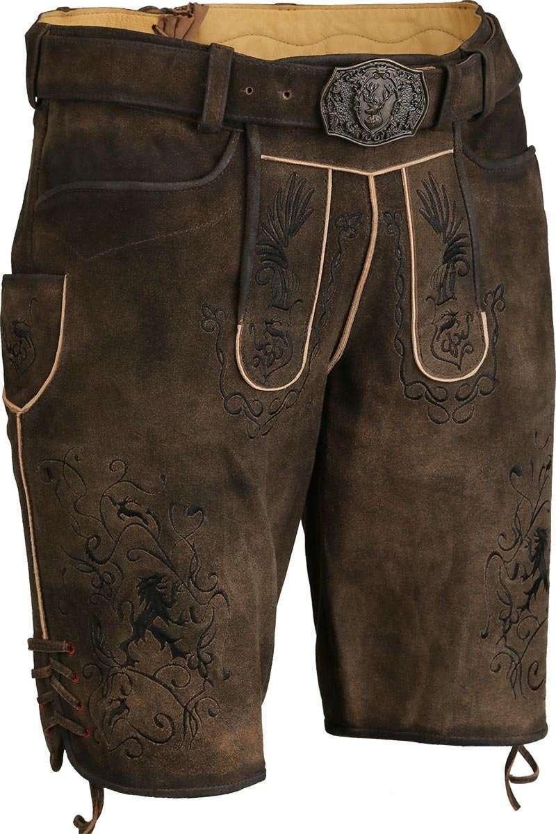 0ca1e96cefff Kurze Lederhose mit Gürtel und schwarzer Stickerei - Kurze ...