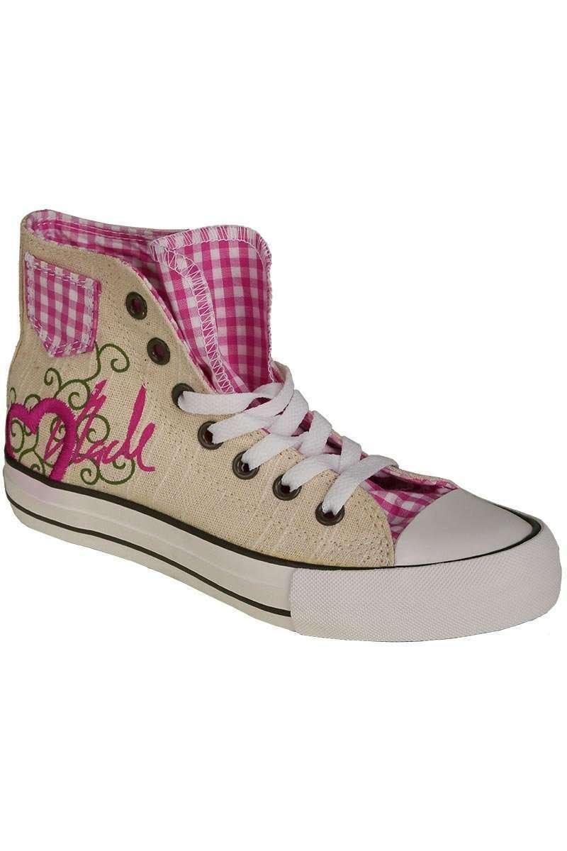 trachten sneaker im chucks look pink 39 madl mit herz 39 schuhe accessoires damen mia san tracht. Black Bedroom Furniture Sets. Home Design Ideas