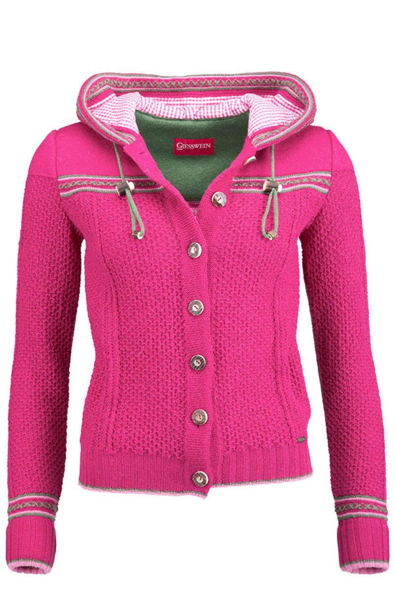 strickjacke mit kapuze pink jacken trendig jacken damen mia san. Black Bedroom Furniture Sets. Home Design Ideas