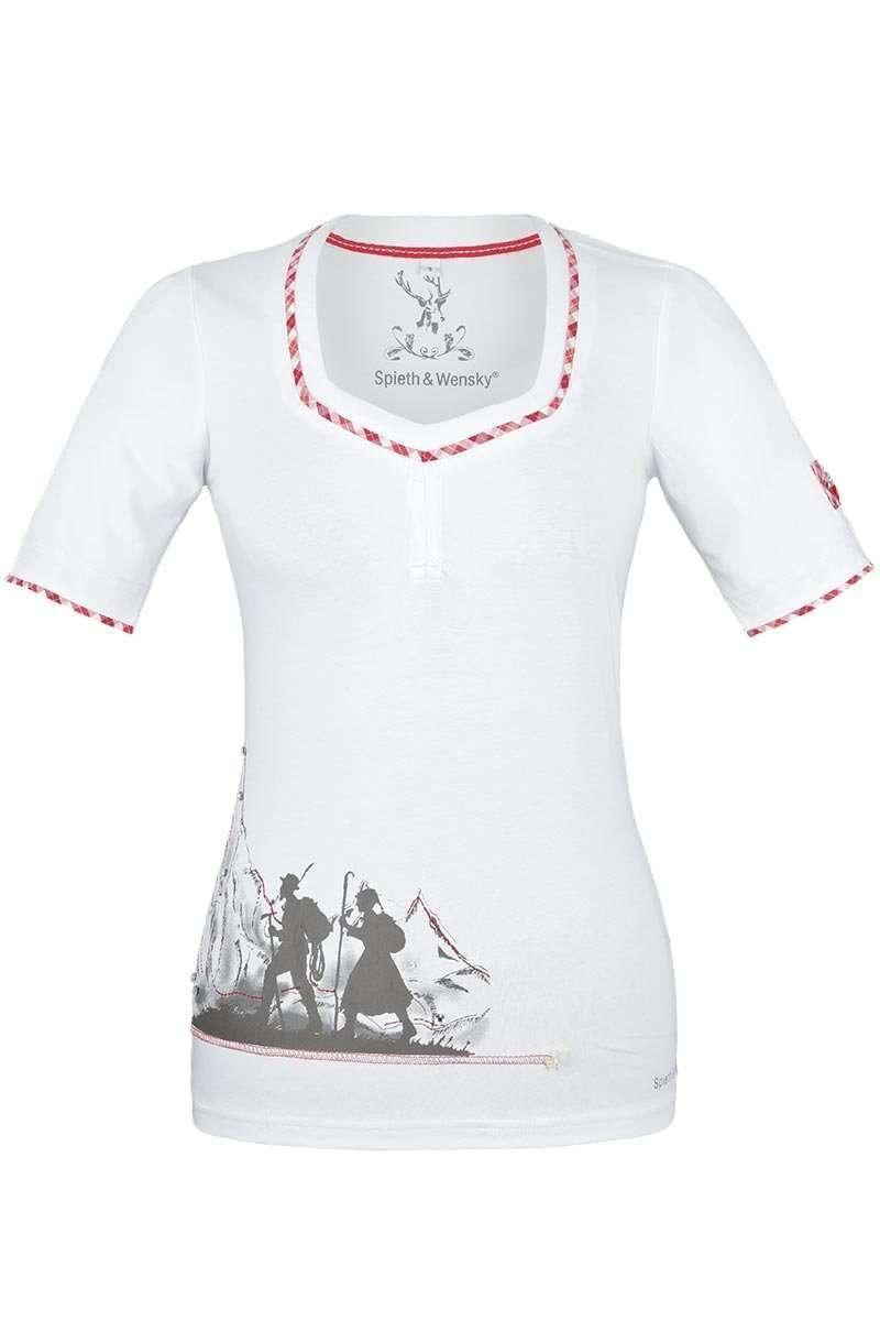d738bea1d032aa T-Shirt mit Glassteinen und Raffung weiß-rot - Damen - Mia San Tracht