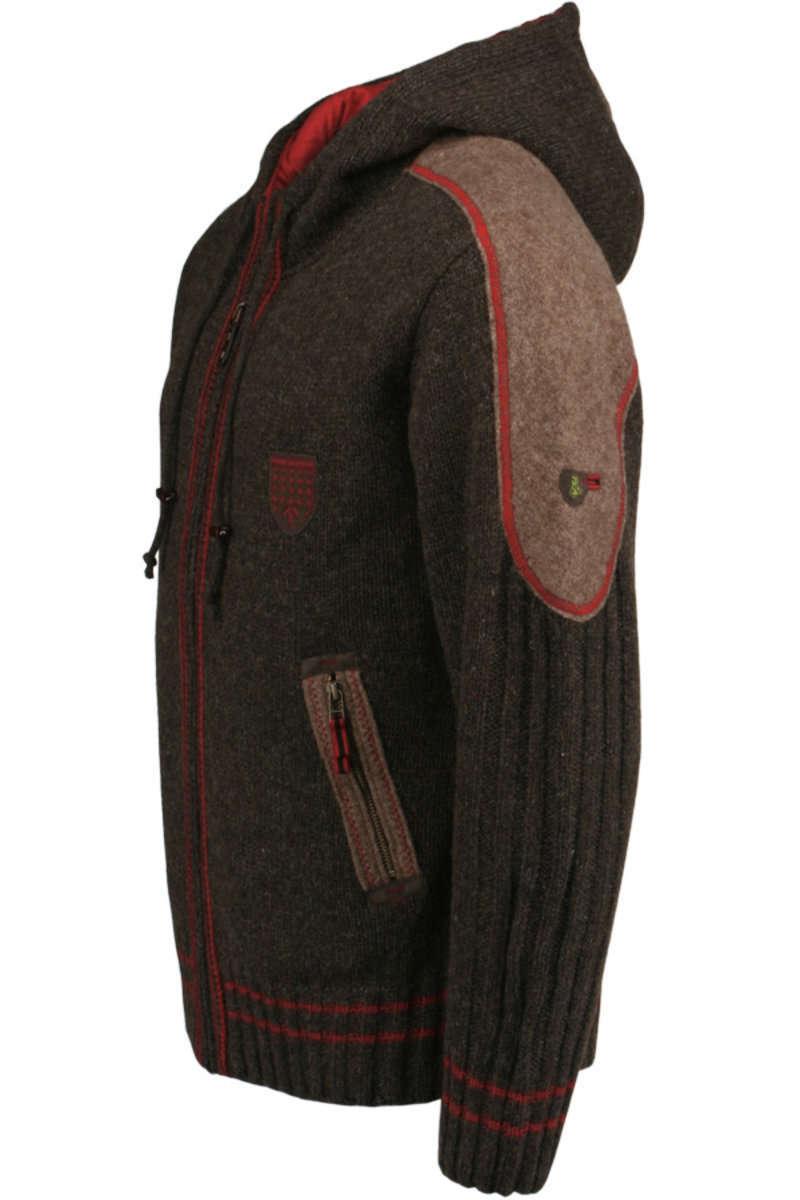 strickjacke mit kapuze braun rot strickjacken trendig jacken herren mia san tracht. Black Bedroom Furniture Sets. Home Design Ideas