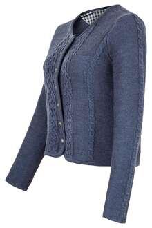 289b10fc6193 Damen Trachten Strickjacke mit Zopfmuster jeansblau
