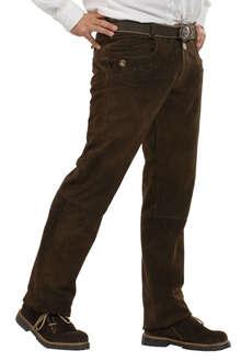 Almsach Lederhose lang schlicht dunkelbraun Schlichte Herren Lederhose lang  aus Wildbockleder 10447f6ada