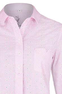 Damen Trachtenbluse Langarm Blumenstickerei rosa 2a026c0549